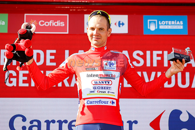 Race leader Rein Taaramäe (EST) Intermarché-Wanty-Gobert Matériaux retains the Red Jersey at the end of Stage 4 of La Vuelta d'Espana 2021, running 163.9km from Burgo de Osma to Molina de Aragon, Spain. 17th August 2021.    <br /> Picture: Luis Angel Gomez/Photogomezsport   Cyclefile<br /> <br /> All photos usage must carry mandatory copyright credit (© Cyclefile   Luis Angel Gomez/Photogomezsport)