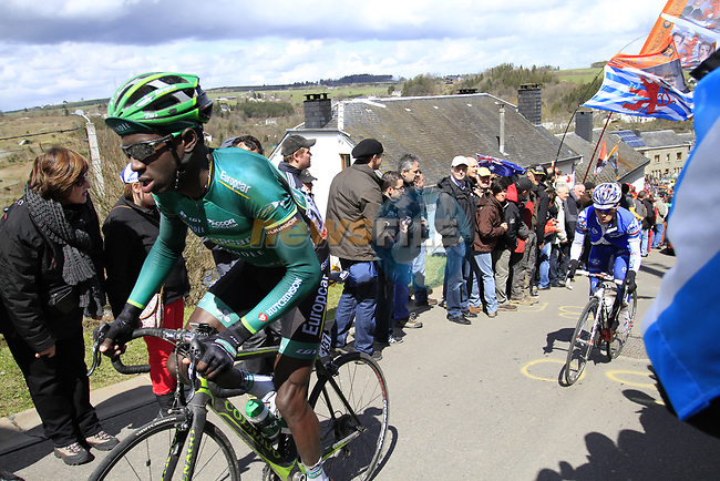 The peloton including Kevin Reza (FRA) Team Europcar climb Cote de Saint-Roch during the 98th edition of Liege-Bastogne-Liege, running 257.5km from Liege to Ans, Belgium. 22nd April 2012.  <br /> (Photo by Eoin Clarke/NEWSFILE).