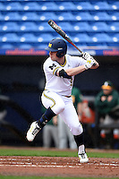 Michigan Wolverines infielder Travis Maezes (9) during the first game of a doubleheader against the Siena Saints on February 27, 2015 at Tradition Field in St. Lucie, Florida.  Michigan defeated Siena 6-2.  (Mike Janes/Four Seam Images)