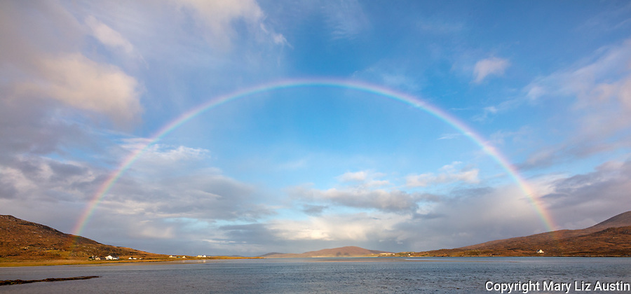 Isle of Lewis and Harris, Scotland: A rainbow spans the expansive bay of Luskentyre beach on South Harris Island