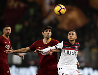 Football, Serie A: AS Roma - Bologna FC, Olympic stadium, Rome, February 18, 2019. <br /> Roma's Federico Fazio (l) in action with Bologna's Simone Edera (r) during the Italian Serie A football match between AS Roma and Bologna FC at Olympic stadium in Rome, on February 18, 2019.<br /> UPDATE IMAGES PRESS/Isabella Bonotto