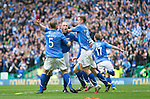 St Johnstone v Dundee United....17.05.14   William Hill Scottish Cup Final<br /> Steven Anderson celebrates his goal with Steven MacLean and Frazer Wright<br /> Picture by Graeme Hart.<br /> Copyright Perthshire Picture Agency<br /> Tel: 01738 623350  Mobile: 07990 594431