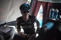 Salvatore Puccio (ITA/Sky) coming onto the bus smiling after the last hard stage of this Vuelta<br /> <br /> stage 20: San Lorenzo de el Escorial - Cercedilla (176km)<br /> 2015 Vuelta à Espana