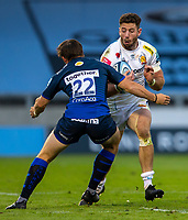 21st August 2020; AJ Bell Stadium, Salford, Lancashire, England; English Premiership Rugby, Sale Sharks versus Exeter Chiefs; Alex Cuthbert of Exeter Chiefs is tackled by AJ MacGinty of Sale Sharks