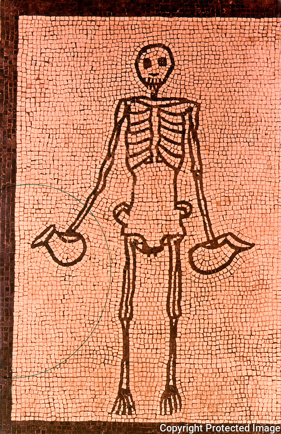 Roman Art:  Mosaic--Skeleton.  National Museum, Naples.