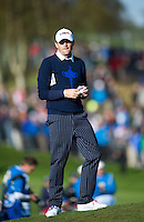26.09.2014. Gleneagles, Auchterarder, Perthshire, Scotland.  The Ryder Cup.  Keegan Bradley [USA] in action during the Friday Fourballs.