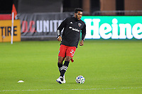 WASHINGTON, DC - OCTOBER 28: Donovan Pines #23 of D.C. United warming up during a game between Columbus Crew and D.C. United at Audi Field on October 28, 2020 in Washington, DC.