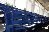 Old wooden seats at Tinker Field, a former spring training site for the Cincinnati Reds, Brooklyn Dodgers, Washington Senators, and Minnesota Twins as well as a minor league stadium, that is possibly being demolished with some portions moved due to renovations at the Citrus Bowl.  The seats were moved to Tinker from Griffith Stadium in Washington, D.C., former home of the Senators.  February 19, 2014 at Tinker Field in Orlando, Florida.  (Mike Janes/Four Seam Images)