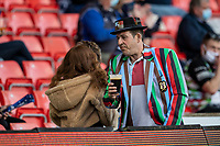 4th June 2021; AJ Bell Stadium, Salford, Lancashire, England; English Premiership Rugby, Sale Sharks versus Harlequins; A Harlequins fan in the stands in team colours