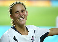 23 August 2004:   Kristine Lilly smiles at the USA fans after USA defeated Germany during the semifinal game at Pankritio Stadium in Heraklio, Greece.     USA defeated Germany, 2-1 in overtime.   Credit: Michael Pimentel / ISI