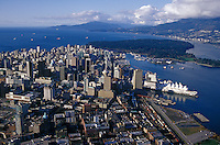 Aerial view of city center, Vancouver, BC, Canada