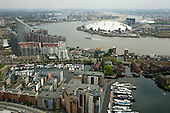 View east over the River Thames from Canary Wharf, Isle of Dogs, London.