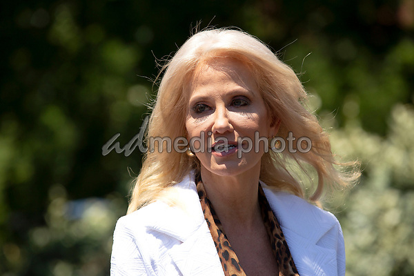 Senior Counselor Kellyanne Conway speaks to members of the media following a television interview outside the White House in Washington, D.C., U.S., on Monday, June 15, 2020.  Credit: Stefani Reynolds / CNP/AdMedia