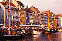canal, Copenhagen, Denmark, Scandinavia, Sjaelland, Europe, Boats docked along Nyhavn (New Harbor) in the scenic city of Copenhagen