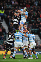 Guido Petti of Argentina wins the lineout against Luke Jones of Barbarians (Bordeaux Begles & Australia)    during the Killik Cup match between the Barbarians and Argentina at Twickenham Stadium on Saturday 1st December 2018 (Photo by Rob Munro/Stewart Communications)