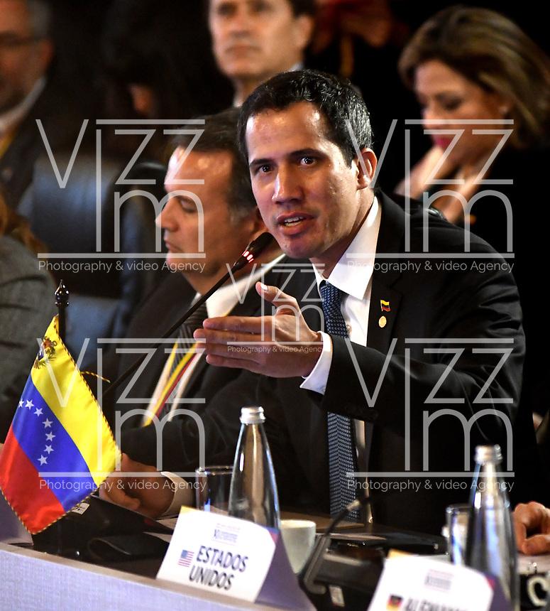 BOGOTÁ – COLOMBIA, 24-02-2019: Juan Guaidó, Presidente interino de Venezuela, habla a los asistentes, durante la 11ª reunión de Ministros de Relaciones Exteriores del Grupo de Lima en Bogotá, Colombia. El grupo de 14 miembros de Lima, que incluye a la mayoría de los paises latinoamericanos. Es la primera reunión en la que Venezuela participará como miembro del grupo de Lima, representado por el presidente interino Juan Guaido. / Juan Guaidó, President Acting of Venezuela, speaks to the attendees, during the 11th Lima Group Foreign Ministers meeting in Bogota, Colombia. The 14-member Lima Group, which includes most Latin American. It is first meeting in which Venezuela will participate as a member of the Lima group, represented by the Acting President Juan Guaido. Photo: VizzorImage / Luis Ramírez / Staff.