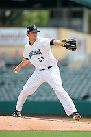 Jupiter Hammerheads pitcher Josh Hodges (33) during a game against the Tampa Yankees on July 18, 2013 at Roger Dean Stadium in Jupiter, Florida.  Jupiter defeated Tampa 6-1.  (Mike Janes/Four Seam Images)