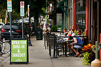 Patrons dine outside of Mad Mex in the Shadyside neighborhood on Tuesday July 21, 2020 in Pittsburgh, Pennsylvania. (Photo by Jared Wickerham/Pittsburgh City Paper)
