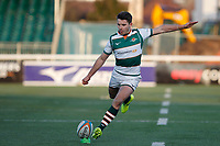 Laurence May of Ealing Trailfinders kicks the conversion during the Championship Cup Quarter Final match between Ealing Trailfinders and Nottingham Rugby at Castle Bar , West Ealing , England  on 2 February 2019. Photo by Carlton Myrie / PRiME Media Images.