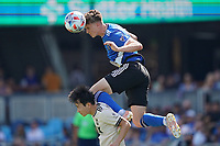 SAN JOSE, CA - AUGUST 8: Tanner Beason #15 of the San Jose Earthquakes goes up for a header with Kim Moon-Hwan #33 of Los Angeles FC during a game between Los Angeles FC and San Jose Earthquakes at PayPal Park on August 8, 2021 in San Jose, California.