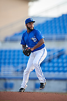 Dunedin Blue Jays starting pitcher Yennsy Diaz (20) delivers a pitch during a game against the Jupiter Hammerheads on August 14, 2018 at Dunedin Stadium in Dunedin, Florida.  Jupiter defeated Dunedin 5-4 in 10 innings.  (Mike Janes/Four Seam Images)