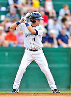 24 July 2010: Vermont Lake Monsters infielder Jason Martinson in action against the Lowell Spinners at Centennial Field in Burlington, Vermont. The Spinners defeated the Lake Monsters 11-5 in NY Penn League action. Mandatory Credit: Ed Wolfstein Photo