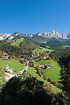Italy, South Tyrol, Alto Adige, Dolomites, San Cipriano with Cima di Antermoia mountains | Italien, Suedtirol, Dolomiten, St. Zyprian vorm Keselkogel