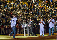 1 April 2016: Former Montreal Expo right fielder Vladimir Guerrero waves to the crowd during pre-game ceremonies prior to an exhibition game between the Boston Red Sox and the Toronto Blue Jays at Olympic Stadium in Montreal, Quebec, Canada. The Red Sox defeated the Blue Jays 4-2 in the first of two MLB weekend exhibition games, which saw an attendance of 52,682 at the former home on the Montreal Expos. Mandatory Credit: Ed Wolfstein Photo *** RAW (NEF) Image File Available ***