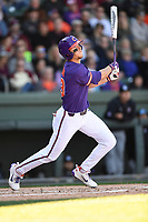 Left fielder Drew Wharton (13) of the Clemson Tigers bats in the Reedy River Rivalry game against the South Carolina Gamecocks on Saturday, March 3, 2018, at Fluor Field at the West End in Greenville, South Carolina. Clemson won, 5-1. (Tom Priddy/Four Seam Images)