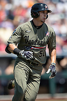 Vanderbilt Commodores outfielder JJ Bleday (51) runs to first base during Game 3 of the NCAA College World Series against the Louisville Cardinals on June 16, 2019 at TD Ameritrade Park in Omaha, Nebraska. Vanderbilt defeated Louisville 3-1. (Andrew Woolley/Four Seam Images)
