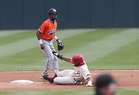 Arkansas outfielder Christian Franklin (25) slides to second, Saturday, April 3, 2021 during the first inning of a baseball game at Baum-Walker Stadium in Fayetteville. Check out nwaonline.com/210404Daily/ for today's photo gallery. <br /> (NWA Democrat-Gazette/Charlie Kaijo)