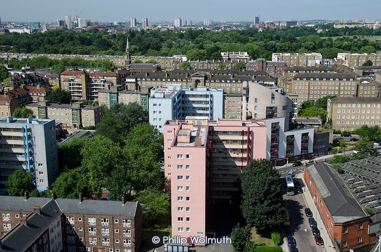 Eskdale (pink), one of the blocks on Camden Council's Regents Park Estate, adjacent to Euston station, scheduled for demolition under current plans for the London terminal of the HS2 high speed train line.