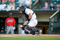 Empire State Yankees catcher Francisco Cervelli #3 during a game against the Indianapolis Indians at Frontier Field on August 4, 2012 in Rochester, New York.  Empire State defeated Indianapolis 9-8 in ten innings.  (Mike Janes/Four Seam Images)