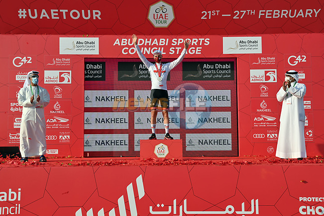 Tadej Pogacar (SLO) UAE Team Emirates also takes over the young riders White Jersey at the end of Stage 2 of the 2021 UAE Tour running 13km around Al Hudayriyat Island, Abu Dhabi, UAE. 22nd February 2021. <br /> Picture: LaPresse/Gian Mattia D'Alberto | Cyclefile<br /> <br /> All photos usage must carry mandatory copyright credit (© Cyclefile | LaPresse/Gian Mattia D'Alberto)