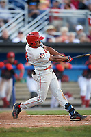 Auburn Doubledays center fielder Armond Upshaw (8) at bat during a game against the Batavia Muckdogs on June 19, 2017 at Dwyer Stadium in Batavia, New York.  Batavia defeated Auburn 8-2 in both teams opening game of the season.  (Mike Janes/Four Seam Images)