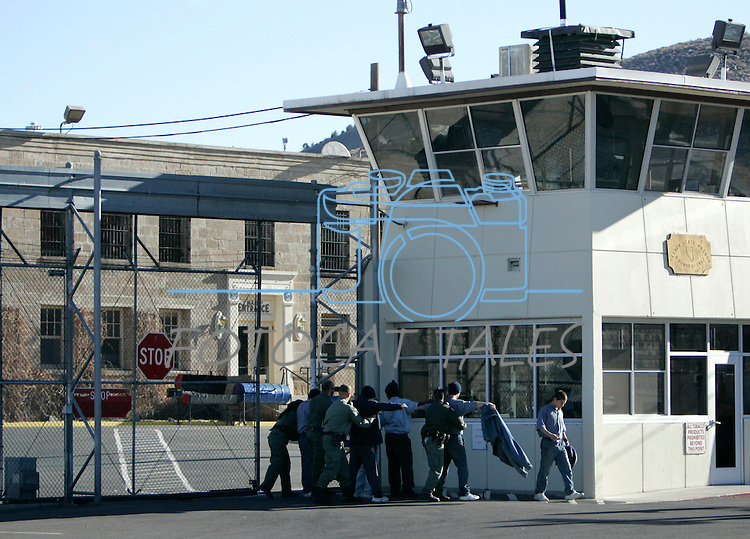 Correctional officers move inmates between the license plate factory in the Nevada State Prison and Warm Springs Correctional Center in Carson City, Nev., on Wednesday, Jan. 4, 2012. .Photo by Cathleen Allison