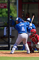 Toronto Blue Jays Alejandro Kirk (4) bats during an Extended Spring Training game against the Philadelphia Phillies on June 12, 2021 at the Carpenter Complex in Clearwater, Florida.  (Mike Janes/Four Seam Images)