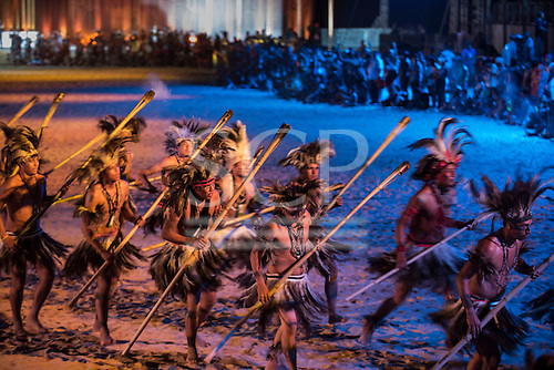 The Terena delegation dances during the closing event at theInternational Indigenous Games, in the city of Palmas, Tocantins State, Brazil. Photo © Sue Cunningham, pictures@scphotographic.com 31st October 2015