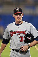 Brevard County Manatees manager Joe Ayrault (33) walks to the clubhouse after a game against the Dunedin Blue Jays on April 23, 2015 at Florida Auto Exchange Stadium in Dunedin, Florida.  Brevard County defeated Dunedin 10-6.  (Mike Janes/Four Seam Images)