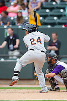 Pedro Perez (24) of the Frederick Keys at bat against the Winston-Salem Dash at BB&T Ballpark on May 18, 2014 in Winston-Salem, North Carolina.  The Dash defeated the Keys 7-6.  (Brian Westerholt/Four Seam Images)