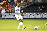 KANSAS CITY, KS - JULY 15: Stephane Abaul #20 of Martinique with the ball during a game between Martinique and USMNT at Children's Mercy Park on July 15, 2021 in Kansas City, Kansas.