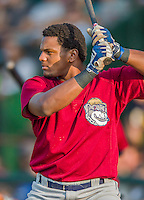 8 July 2015: Mahoning Valley Scrappers infielder Emmanuel Tapia warms up prior to a game against the Vermont Lake Monsters at Centennial Field in Burlington, Vermont. The Lake Monsters defeated the Scrappers 9-4 to open the home game series of NY Penn League action. Mandatory Credit: Ed Wolfstein Photo *** RAW Image File Available ****
