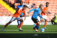 Swindon Town's Matthew Smith under pressure from Blackpool's Ethan Robson<br /> <br /> Photographer Kevin Barnes/CameraSport<br /> <br /> The EFL Sky Bet League One - Blackpool v Swindon Town - Saturday 19th September 2020 - Bloomfield Road - Blackpool<br /> <br /> World Copyright © 2020 CameraSport. All rights reserved. 43 Linden Ave. Countesthorpe. Leicester. England. LE8 5PG - Tel: +44 (0) 116 277 4147 - admin@camerasport.com - www.camerasport.com