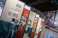 """Ausstellung ueber die Geschichte des Konzentrationslager Osthofen in der  Gedenkstaette KZ-Osthofen in Rheinland-Pfalz.<br /> Das Konzentrationslager wurde kurz nach der Machtuebernahme der Nationalsozialisten im Jahr 1933 als eines der ersten Konzentrationslager in einer stillgelegten Papierfabrik errichtet. Hier wurden Sozialdemokraten, Juden und Kommunisten in sog. """"Schutzhaft"""" genommen. Viele von ihnen wurden spaeter ermordet.<br /> Das Konzentrationslager bestand ca. 1 1/2 Jahre bis 1934.<br /> 1.9.2021, Osthofen<br /> Copyright: Christian-Ditsch.de"""