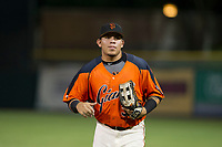 AZL Giants right fielder Diego Rincones (35) jogs off the field between innings of the game against the AZL Cubs on September 5, 2017 at Scottsdale Stadium in Scottsdale, Arizona. AZL Cubs defeated the AZL Giants 10-4 to take a 1-0 lead in the Arizona League Championship Series. (Zachary Lucy/Four Seam Images)