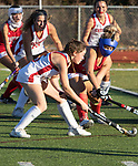 CHESHIRE CT. - 09 November 2020-110920SV02-#15 Jenna Kemp of Cheshire looks to score against Branford during the semifinals of SCC field hockey tournament in Cheshire Monday.<br /> Steven Valenti Republican-American