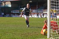 3rd April 2021; Dens Park, Dundee, Scotland; Scottish FA Cup Football, Dundee FC versus St Johnstone; St Johnstone goalkeeper ZanderClark gathers the ball after saving a penalty kick from Charlie Adam of Dundee in minute 75