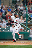 Rochester Red Wings Zander Wiel (12) at bat during an International League game against the Buffalo Bisons on May 31, 2019 at Frontier Field in Rochester, New York.  Rochester defeated Buffalo 5-4 in ten innings.  (Mike Janes/Four Seam Images)