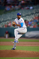 Round Rock Express relief pitcher Jose Valdespina (75) delivers a pitch during a game against the Memphis Redbirds on April 28, 2017 at AutoZone Park in Memphis, Tennessee.  Memphis defeated Round Rock 9-1.  (Mike Janes/Four Seam Images)