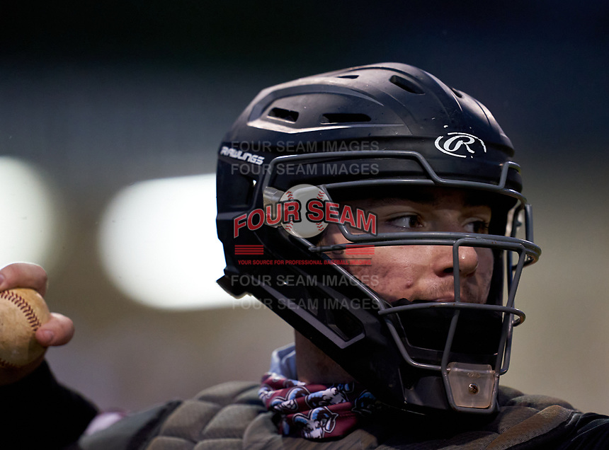 Riverview Rams catcher Cole Griffith (24) during warmups before a game against the Sarasota Sailors on February 19, 2021 at Rams Baseball Complex in Sarasota, Florida. (Mike Janes/Four Seam Images)